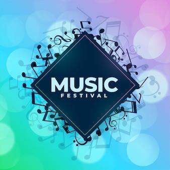 Fondo di festival di musica con cornice di note