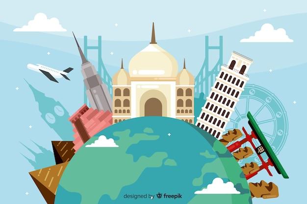 Fondo di giornata mondiale del turismo con punti di riferimento e trasporti