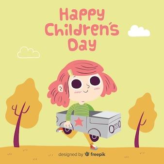 Fondo di giorno dei bambini della ragazza dell'automobile