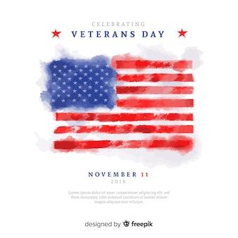 Fondo di giorno dei veterani dell'acquerello con noi elementi della bandiera