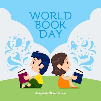 Fondo di giorno del libro del mondo con lettura dei bambini