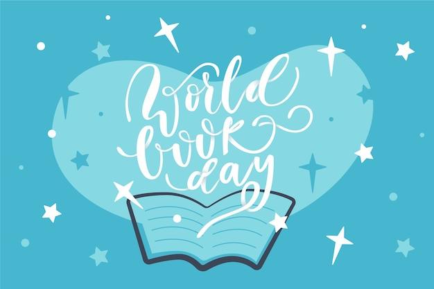 Fondo di giorno del libro del mondo di design piatto