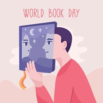 Fondo di giorno del libro del mondo disegnato a mano con ragazzo e ragazza