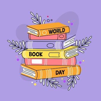Fondo di giorno del libro del mondo disegnato a mano