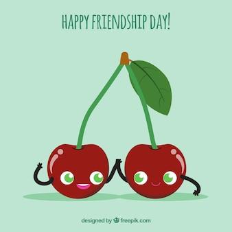 Fondo di giorno di amicizia con ciliegie carine
