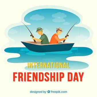 Fondo di giorno di amicizia con gli uomini che pescano