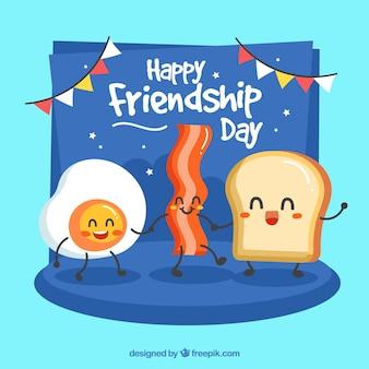 Fondo di giorno di amicizia con pane tostato e pancetta affumicata