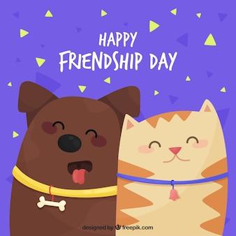 Fondo di giorno di amicizia con simpatici animali