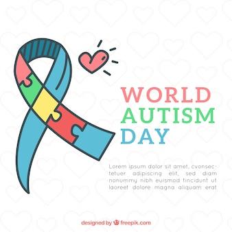 Fondo di giorno di autismo del mondo con stile disegnato di pezzi di puzzle in mano