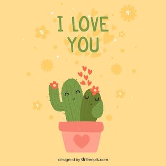 Fondo di giorno di biglietti di s. valentino con le coppie del cactus