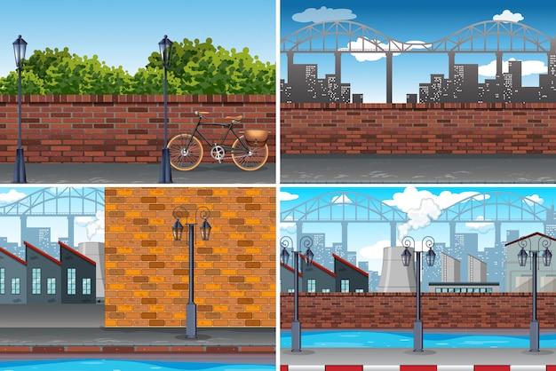 Fondo di giorno di città urbana