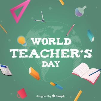 Fondo di giorno di insegnanti di mondo design piatto con oggetti intorno