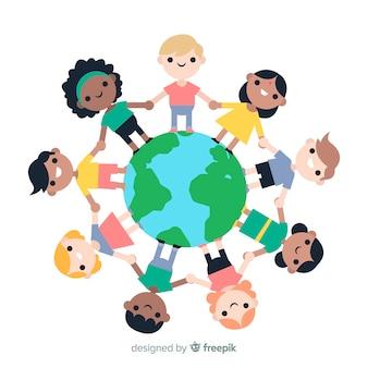 Fondo di giorno di pace con i bambini che si tengono per mano intorno al globo
