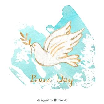 Fondo di giorno di pace con la colomba bianca dipinta a mano