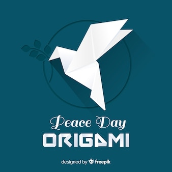Fondo di giorno di pace con la colomba di origami