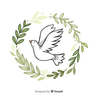 Fondo di giorno di pace del mondo con stile disegnato colomba a disposizione