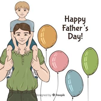 Fondo di giorno di padri disegnato a mano