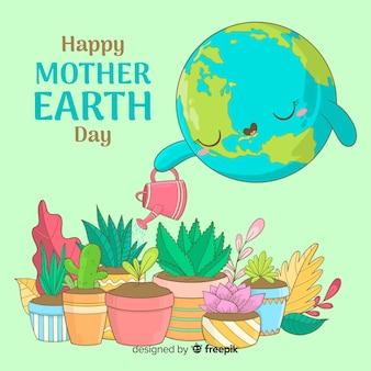 Fondo di giorno di terra di madre delle piante di innaffiatura del pianeta