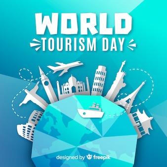 Fondo di giorno di turismo con monumenti intorno a terra