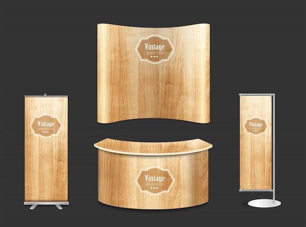 Fondo di legno di struttura del supporto in bianco della mostra della cabina della fiera commerciale