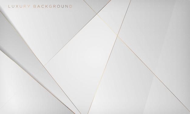 Fondo di lusso astratto bianco e grigio con la linea dorata.
