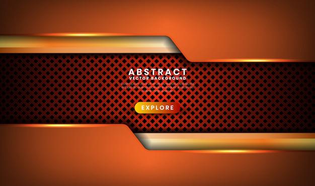 Fondo di lusso di marrone scuro astratto 3d con il rombo metallico, strato di sovrapposizione con la decorazione arancio di effetto della luce