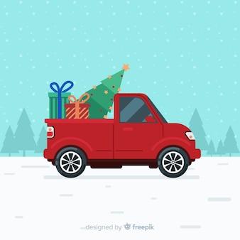 Fondo di natale del camion di consegna dell'albero