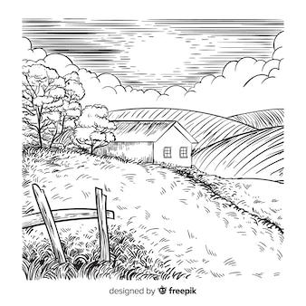 Fondo di paesaggio di fattoria disegnata a mano
