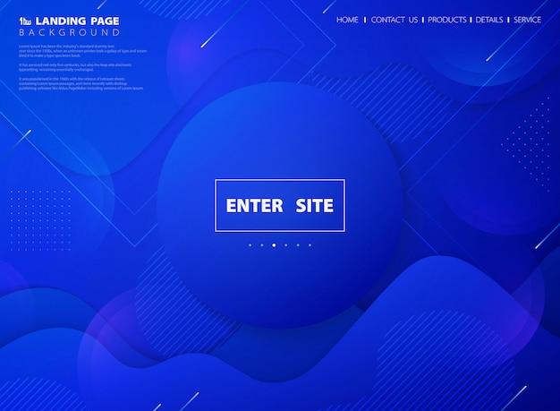 Fondo di pagina di atterraggio di web di tecnologia di colore vivo blu astratto moderno