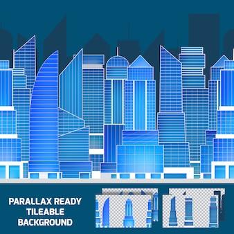 Fondo di parallasse piastrellabile di paesaggio urbano moderno di notte