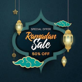 Fondo di progettazione del modello dell'insegna di vendita di ramadan