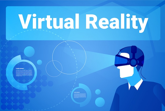 Fondo di realtà virtuale di wearing 3d glasses dell'uomo d'affari con l'uomo dello spazio della copia nel concetto di vr goggles