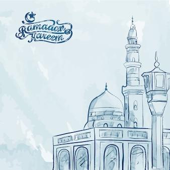 Fondo di saluto di ramadan kareem di schizzo della moschea dell'acquerello