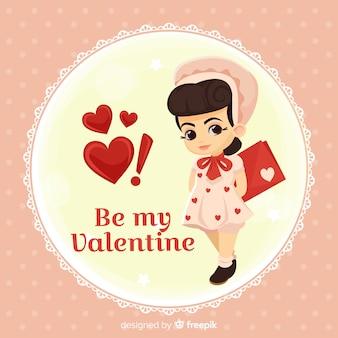 Fondo di san valentino bambola