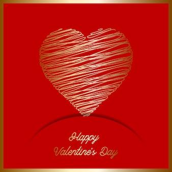 Fondo di san valentino con cuore di scarabocchio d'oro