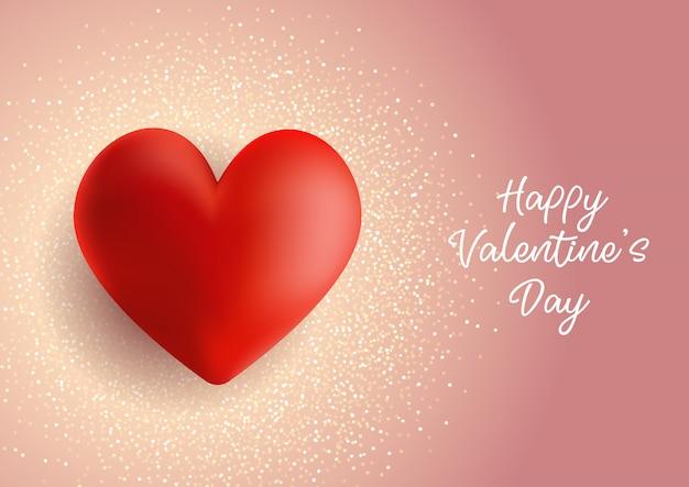 Fondo di san valentino con cuore su glitter