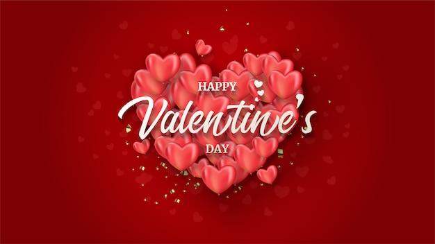 Fondo di san valentino con le illustrazioni delle pile rosse del pallone di amore su rosso