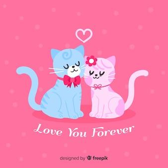 Fondo di san valentino coppia di gatti