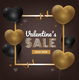 Fondo di san valentino dell'oro con i cuori 3d. illustrazione vettoriale di promozione delle vendite