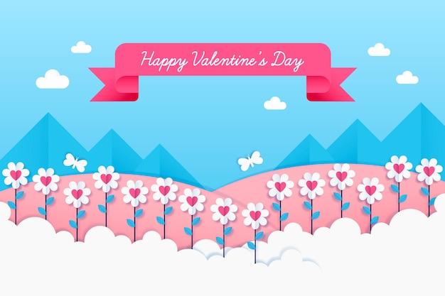 Fondo di san valentino nel concetto di stile di carta