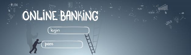 Fondo di schizzo di tiraggio della mano di scarabocchio di concetto di interfaccia di applicazione di attività bancarie online