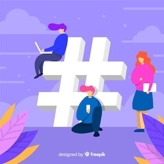 Fondo di simbolo del hashtag dei giovani