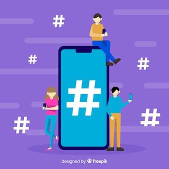 Fondo di simbolo di hashtag di media sociali della gente piana