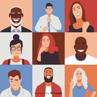 Fondo di stile piano di concetto di diversità
