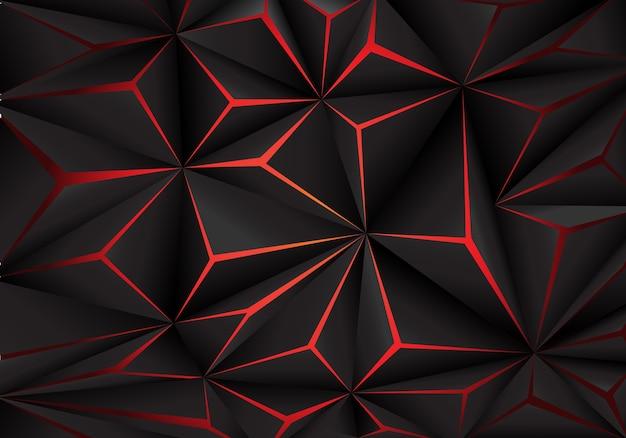 Fondo di tecnologia futuirstic della luce rossa del poligono nero astratto