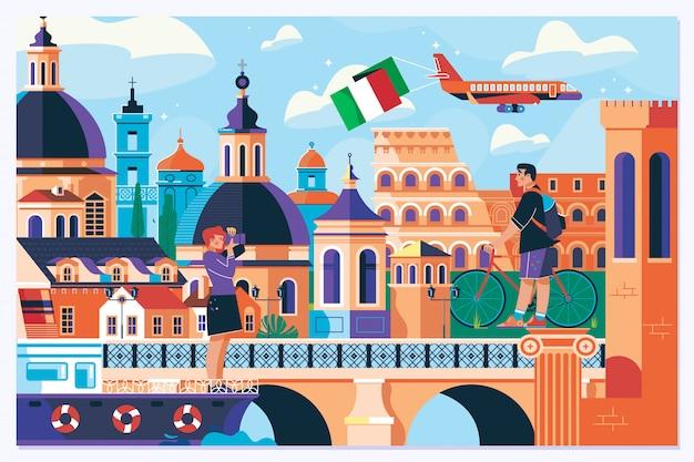 Fondo di vacanza di vacanza di turismo di estate di viaggio di roma europa