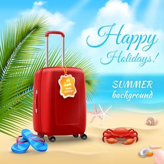 Fondo di vacanze estive con la valigia realistica sulla spiaggia tropicale