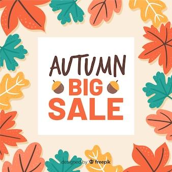Fondo di vendita autunno disegnato a mano