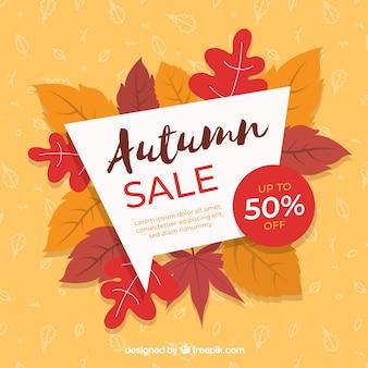 Fondo di vendita di autunno con foglie colorate