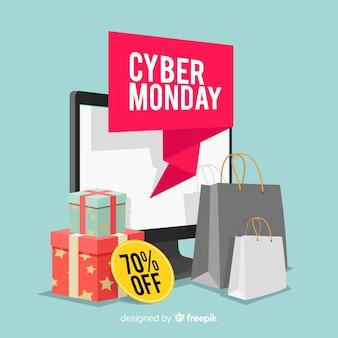 Fondo di vendita di cyber lunedì con dispositivi elettronici
